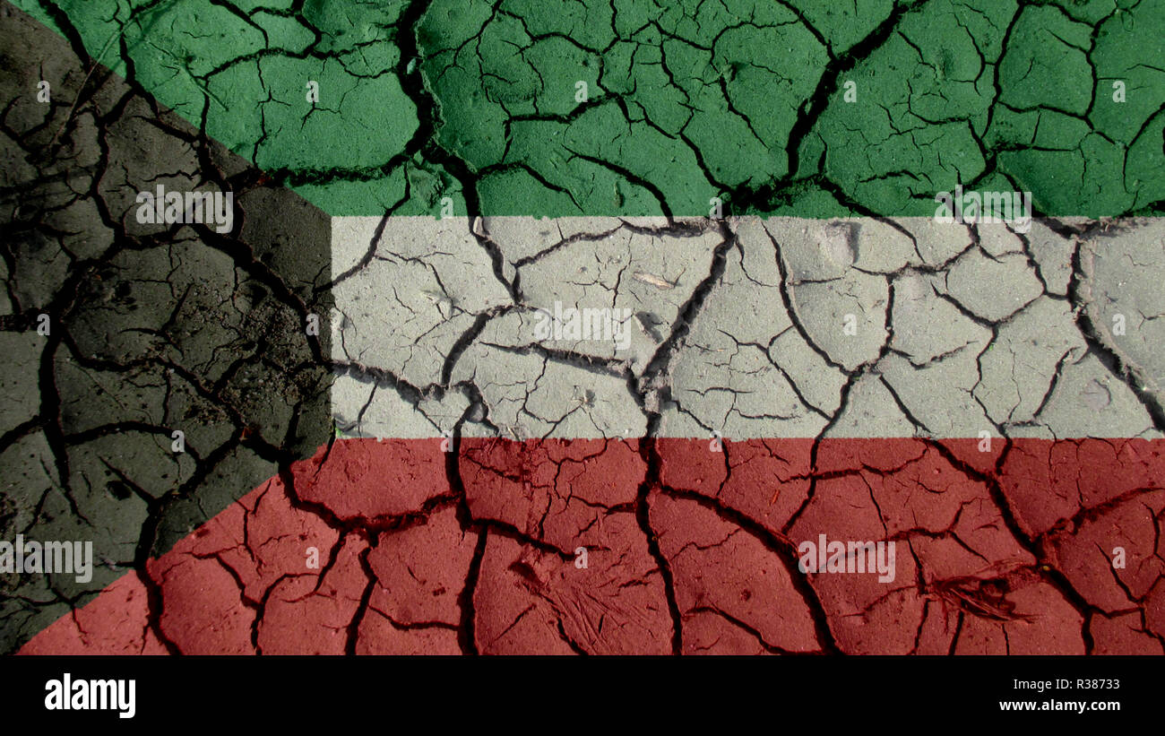 Political Crisis Or Environmental Concept: Mud Cracks With Kuwait Flag - Stock Image