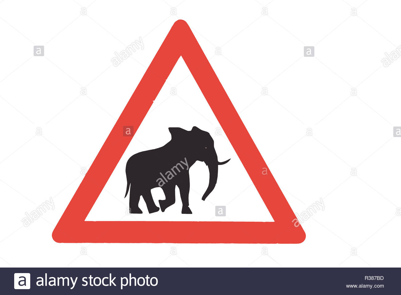 elephant crossing sign - Stock Image