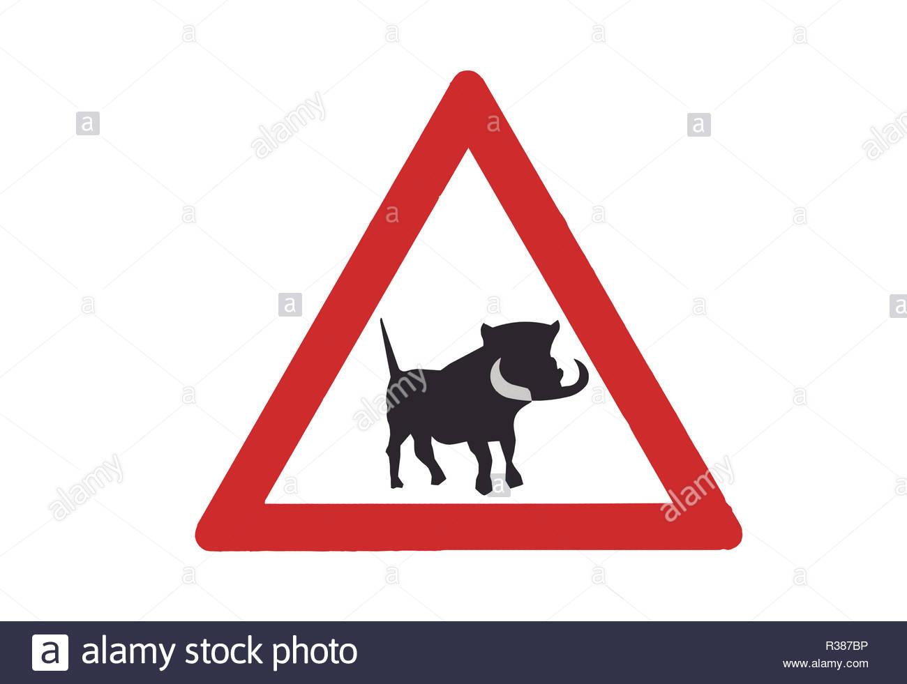 warthog crossing sign - Stock Image