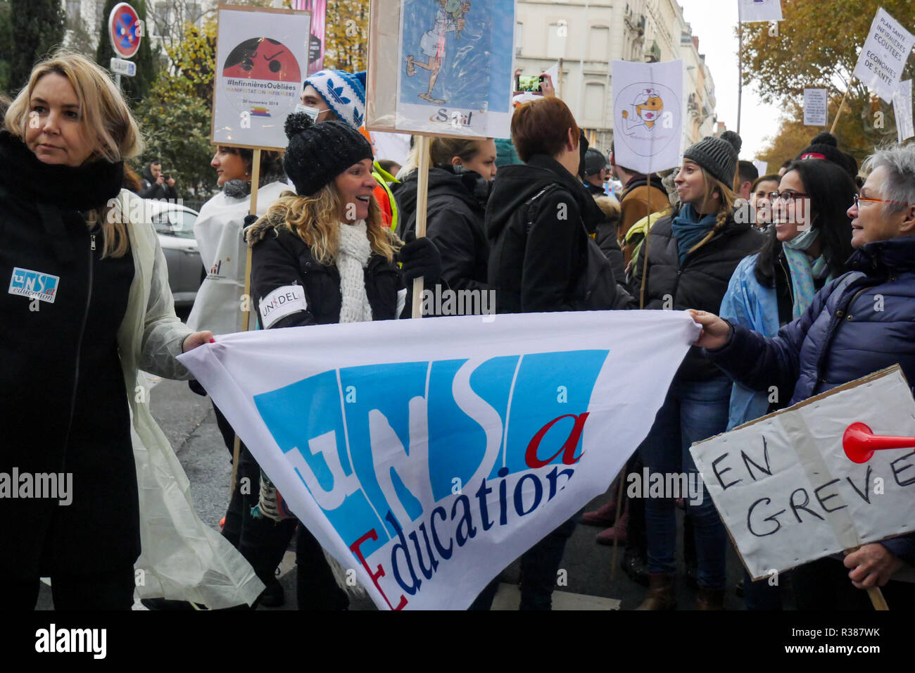 Nurses protest announced status, Lyon, France Stock Photo