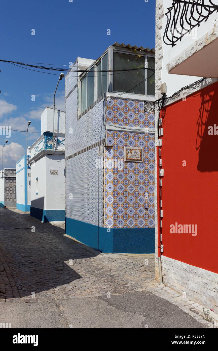 street in santa luzia,algarve Stock Photo