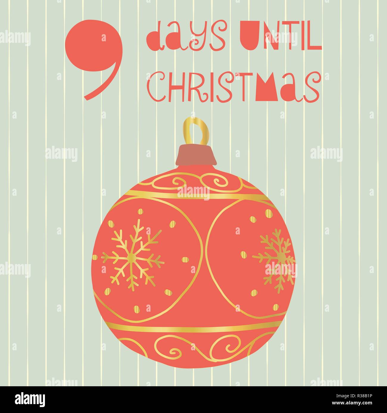 How Many Days Until Christmas Countdown.9 Days Until Christmas Vector Illustration Christmas