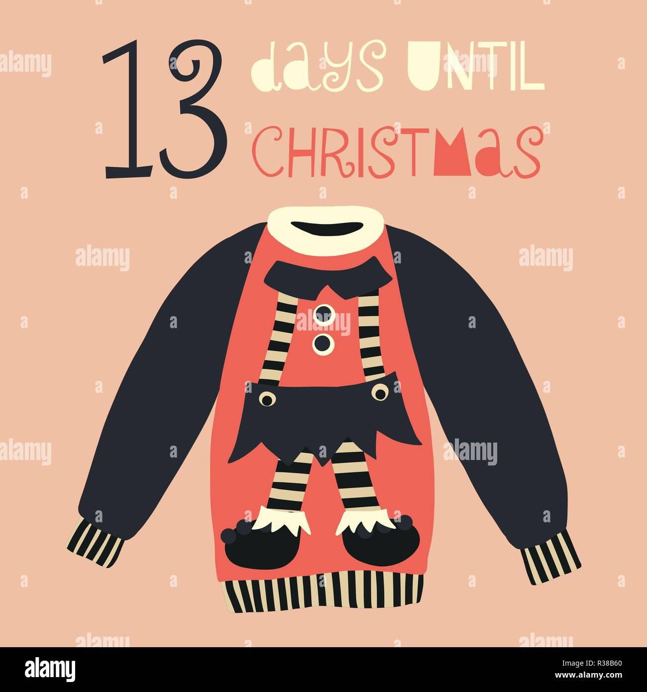How Long Till Christmas.13 Days Until Christmas Vector Illustration Christmas