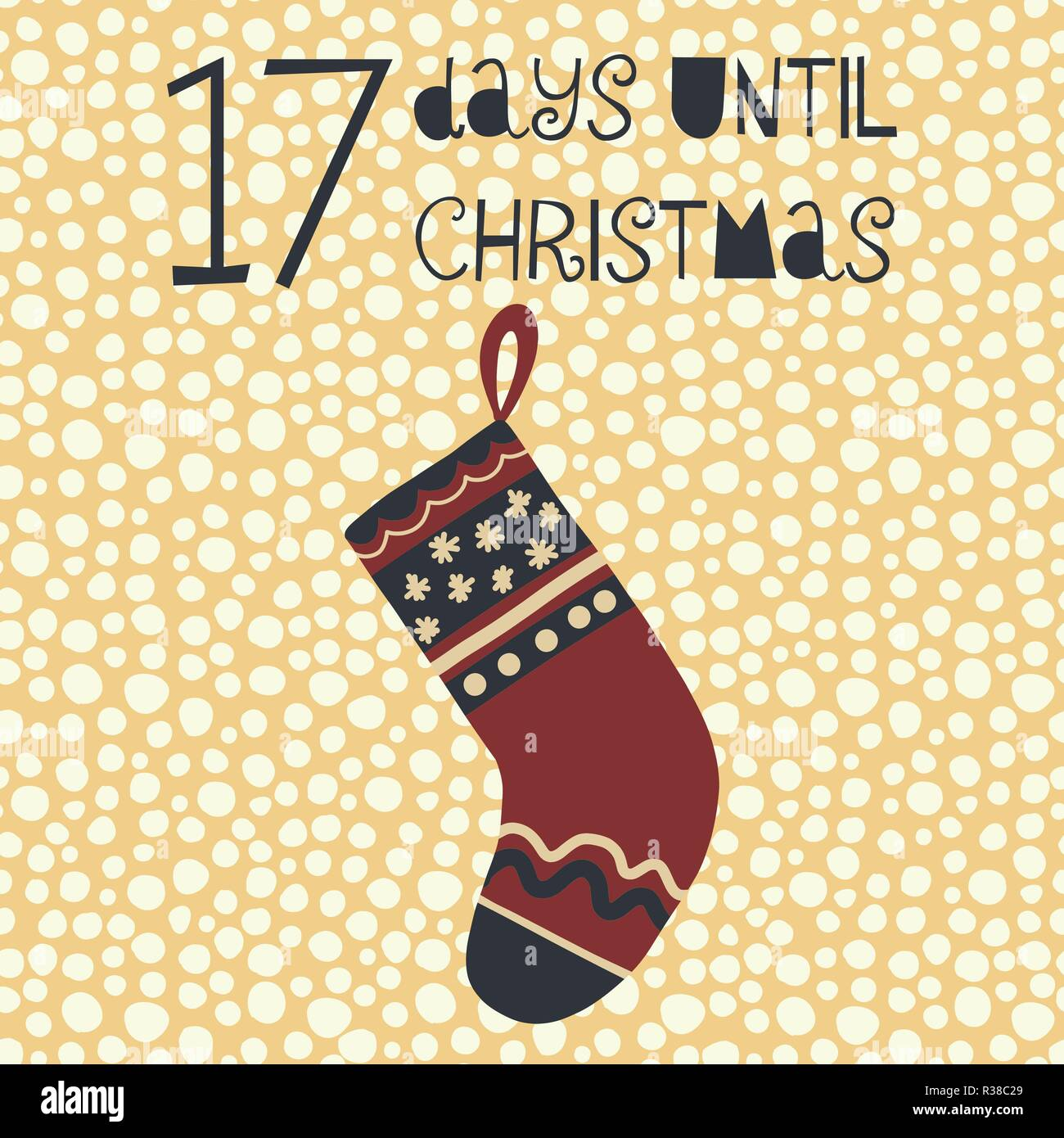 How Many Days Until Christmas Countdown.17 Days Until Christmas Vector Illustration Christmas