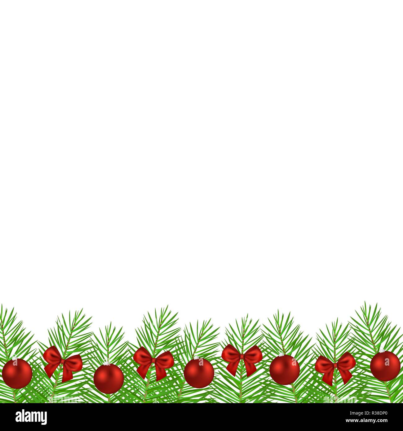 Christmas tree branches decorated - Stock Vector