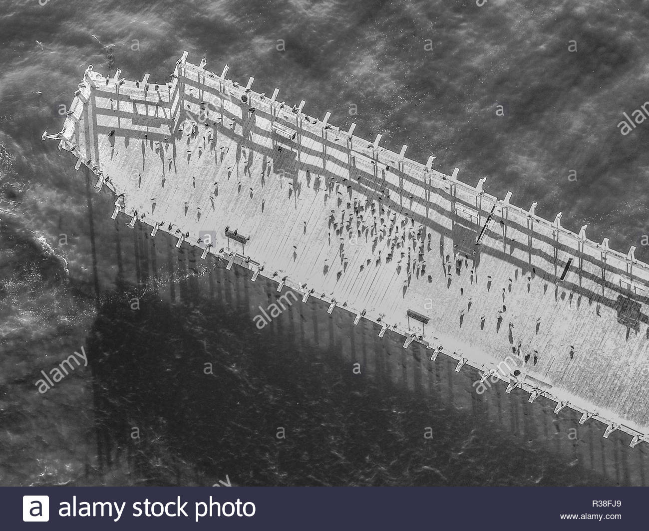 Aerial: Cement Ship, Beached at Seacliff - Stock Image