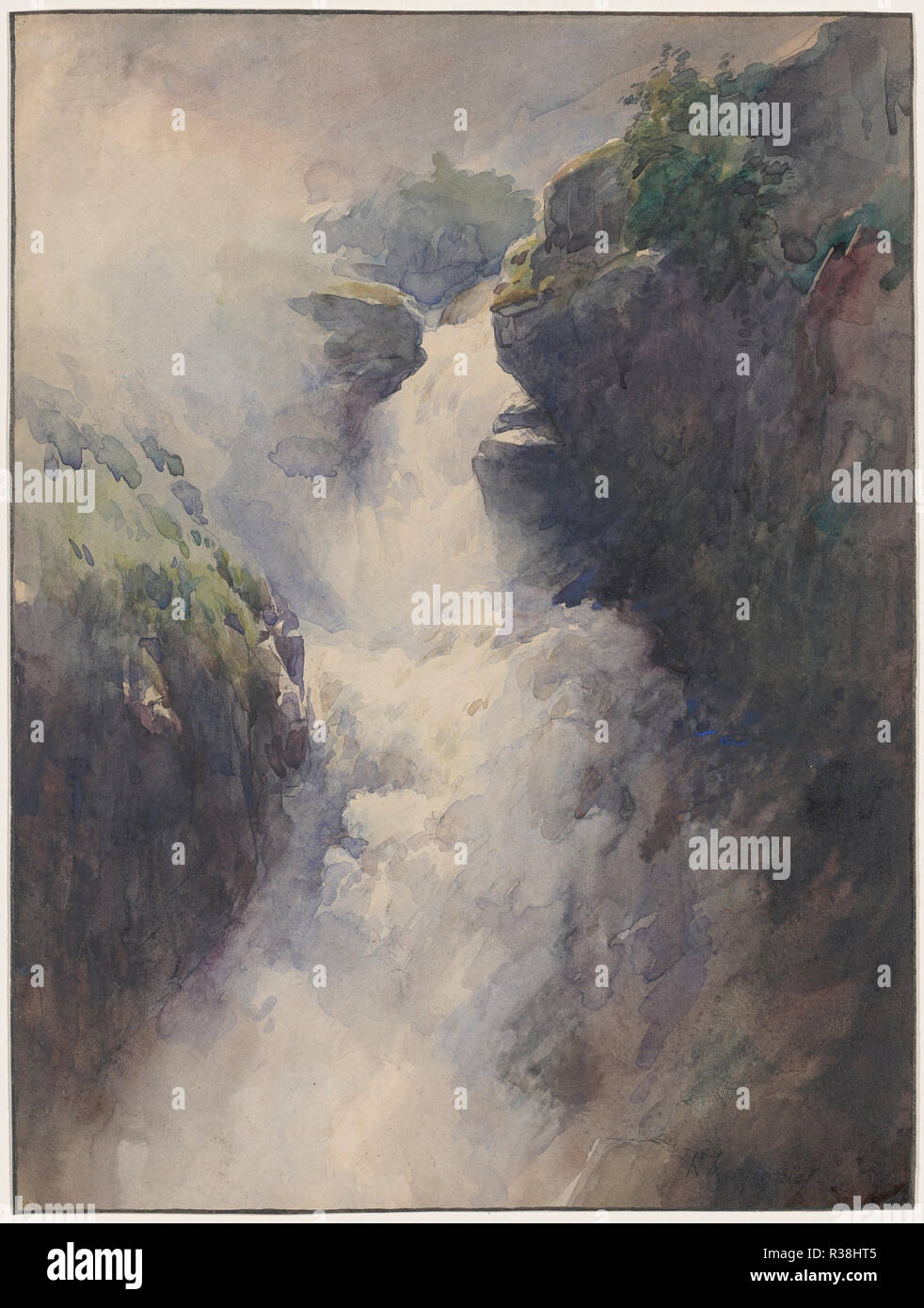 A Cascade in the Mountains. Dated: 1870s. Dimensions: sheet: 31.8 × 23.7 cm (12 1/2 × 9 5/16 in.). Medium: watercolor over pen and black ink on wove paper. Museum: National Gallery of Art, Washington DC. Author: Henri-Joseph Harpignies. - Stock Image