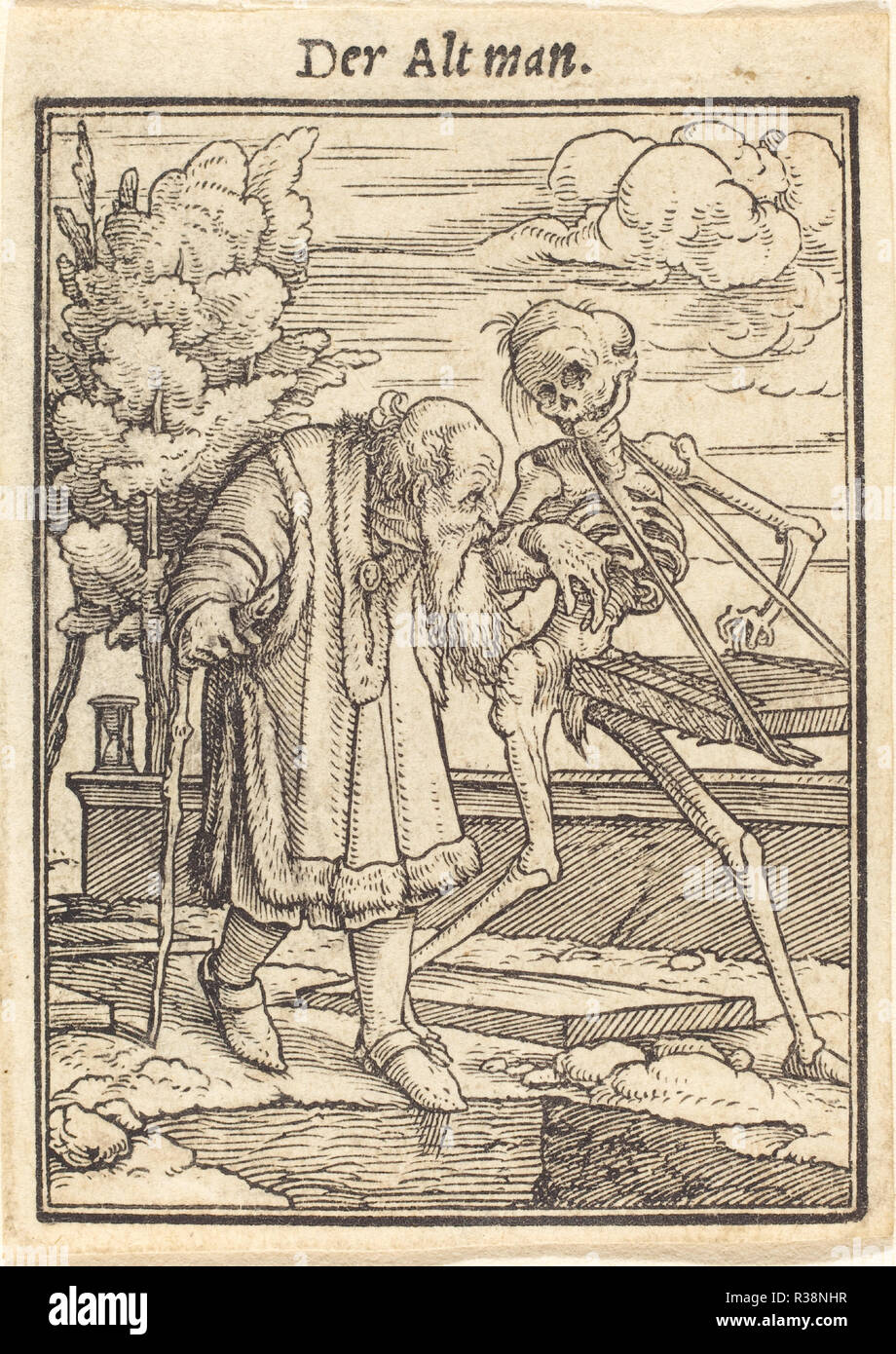 Old Man. Medium: woodcut. Museum: National Gallery of Art, Washington DC. Author: Hans Holbein the Younger. - Stock Image