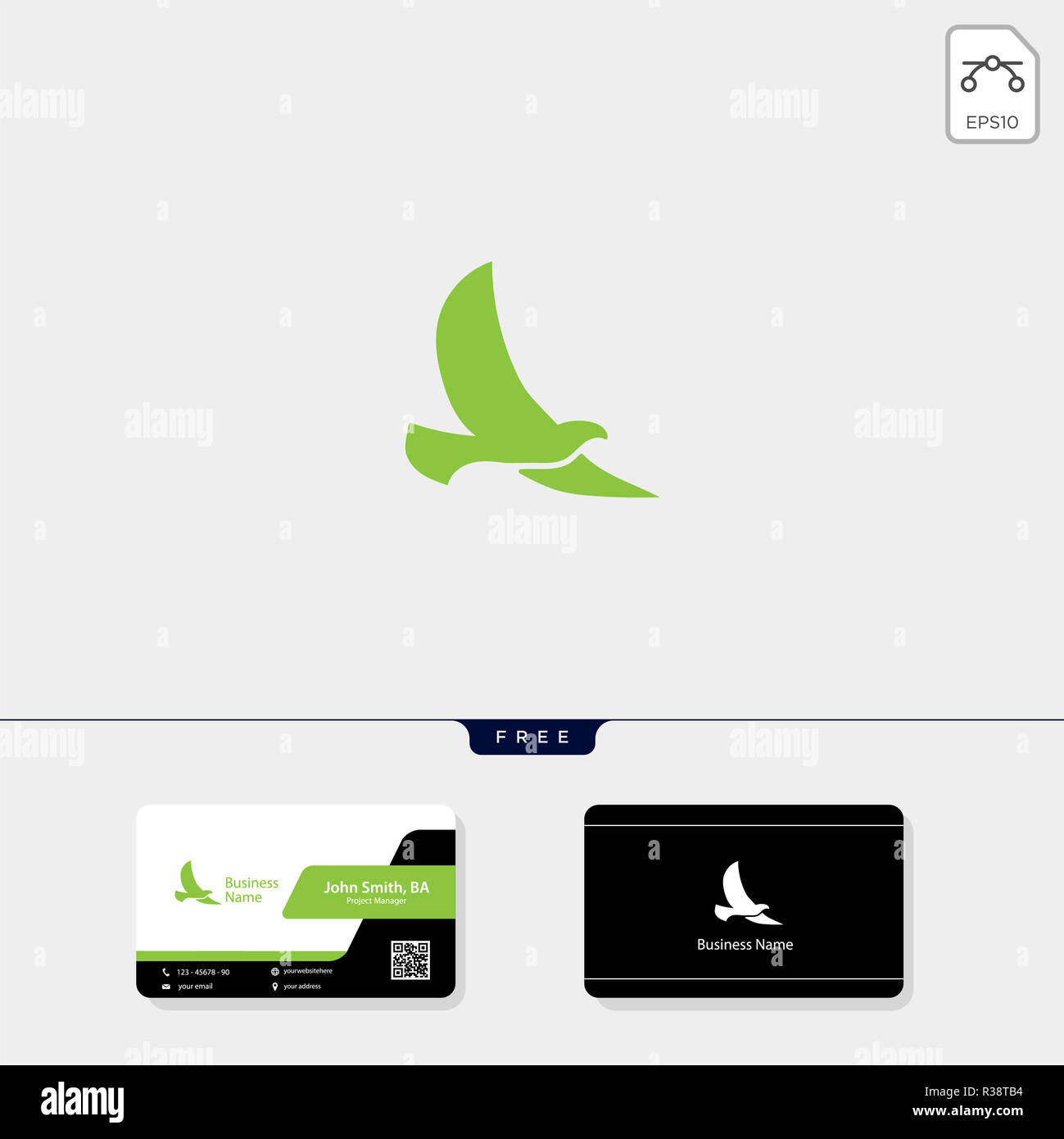 flying bird logo template vector illustration free business card