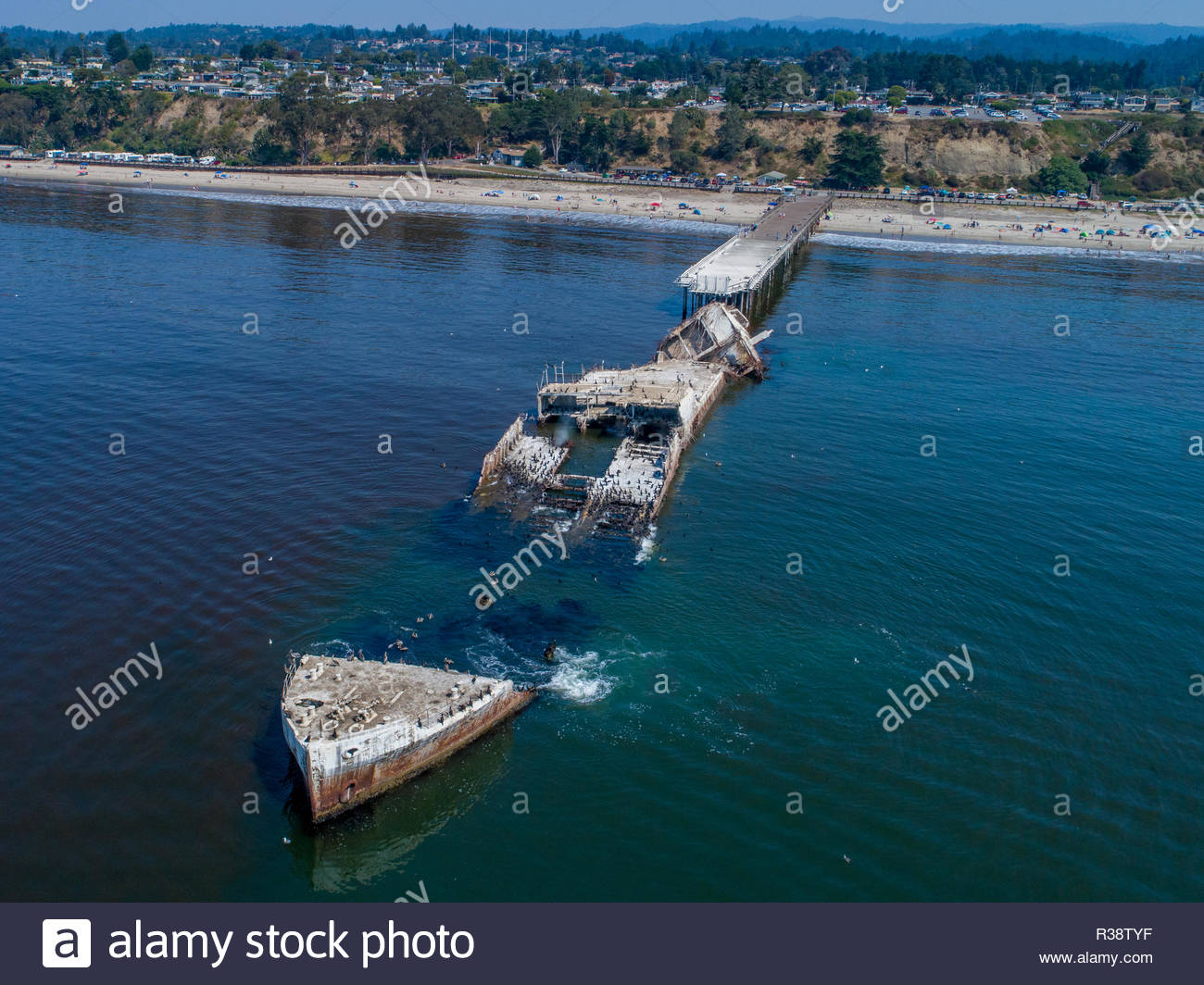 Aerial: Cement Ship Beached - Stock Image