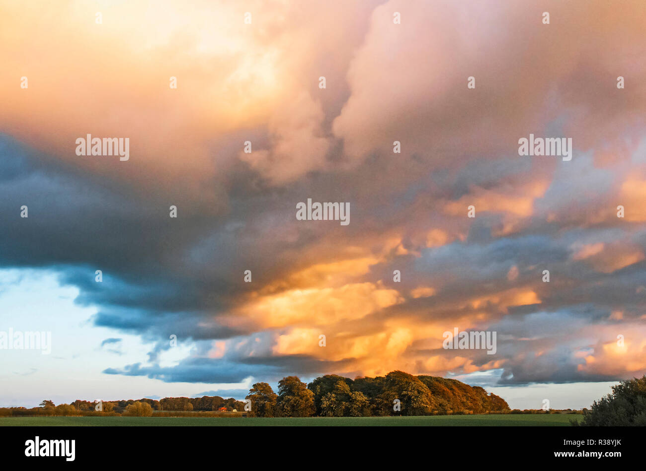Evening sunlight reflecting off storm clouds opver open farmland - Stock Image