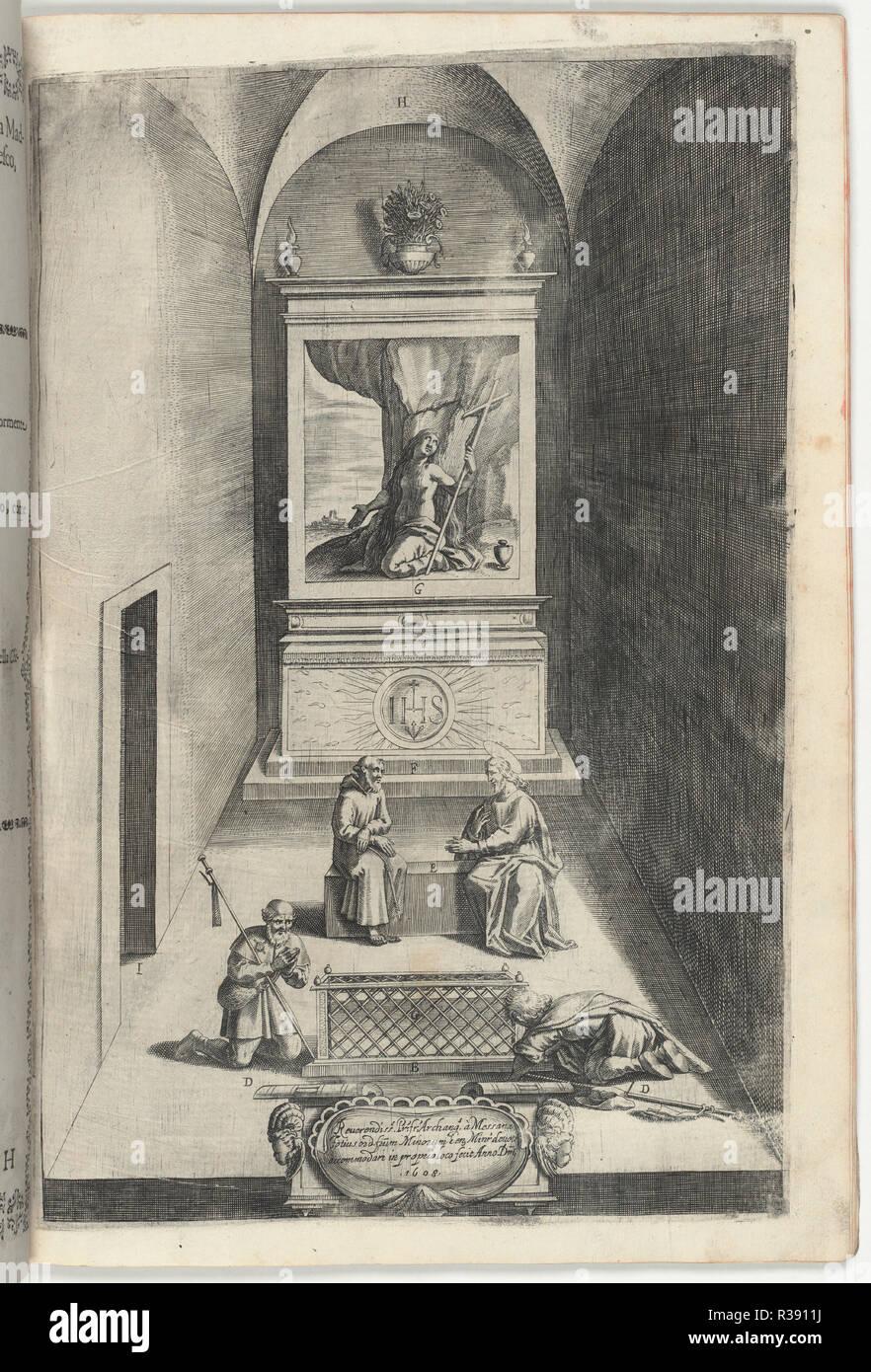 Interior of the Chapel of Mary Magdelene (Interno della cappella della Maddalena). Dated: 1612. Dimensions: book: 43.3 × 30 × 1.8 cm (17 1/16 × 11 13/16 × 11/16 in.). Medium: 1 engraved illusration. Museum: National Gallery of Art, Washington DC. Author: Lino Moroni. - Stock Image