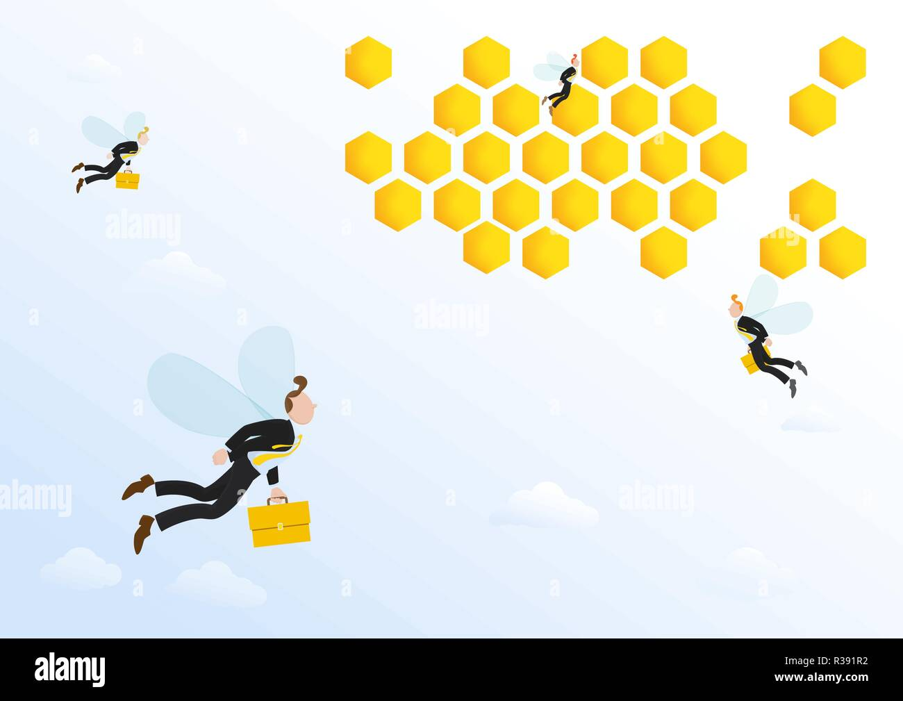 Businessman, office workers with briefcases flying to bee hive, office. Vector illustration concept for simile human working life like bee. - Stock Image