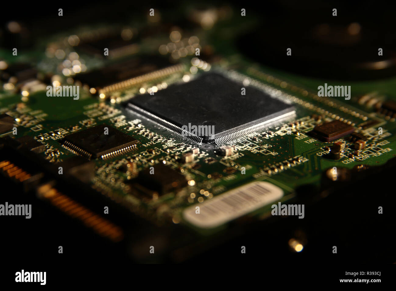 Microchip On Printed Circuit Board Stock Photos Pcb 13 Royalty Free Image Cpu Chipset With Electronic Components Close Up