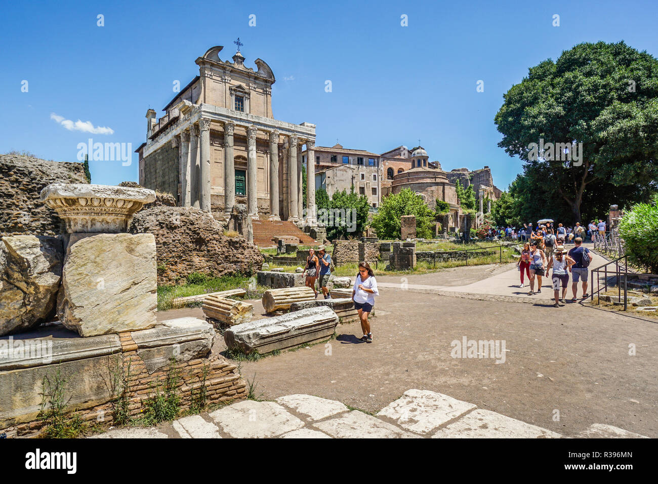 Via Sacra at the Roman Forum, the ancient city of Rome, in the background the Antonius and Faustina Temple which became the Church of San Lorenzo, Rom - Stock Image