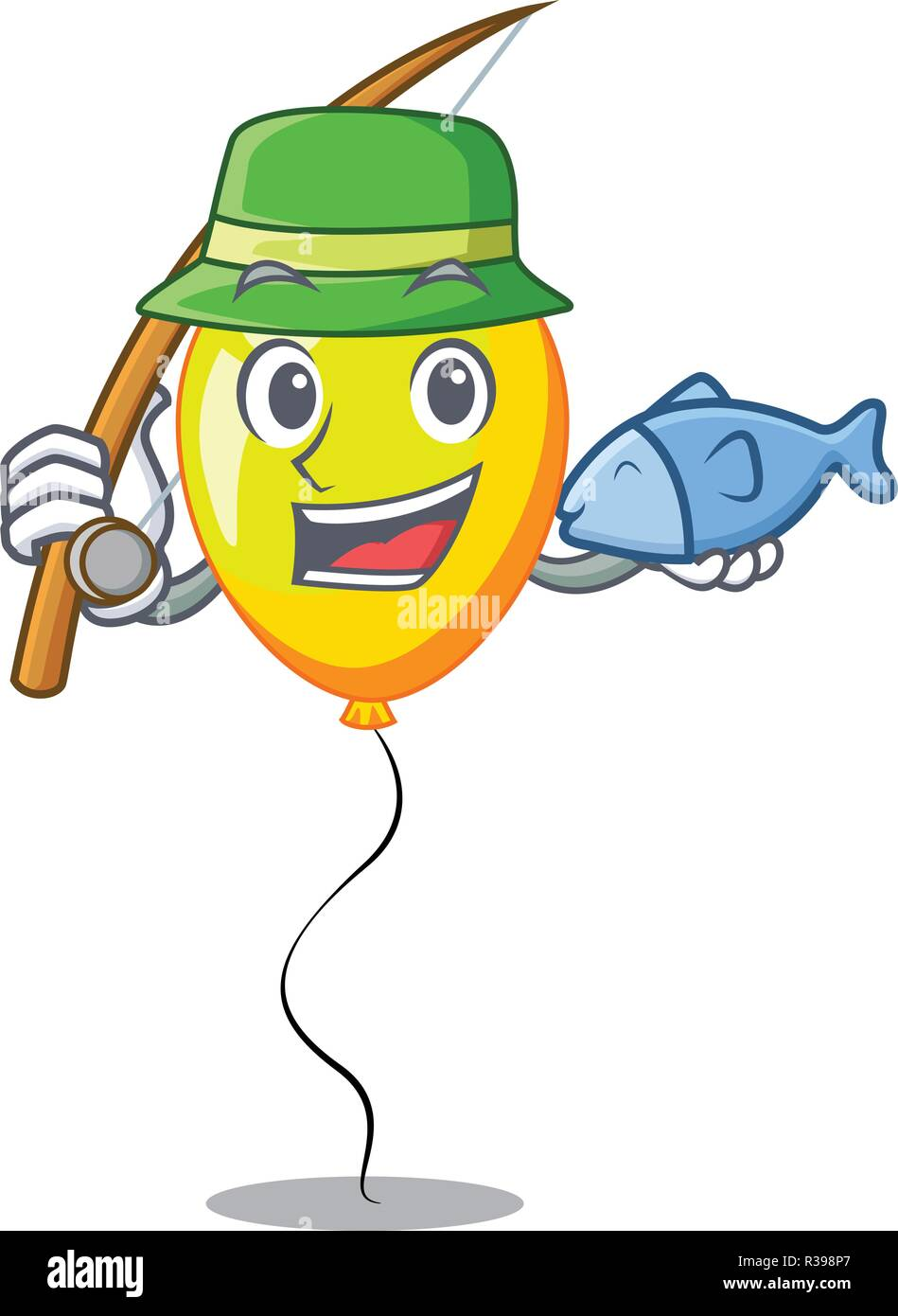 Fishing character yellow balloon ticket on holiday - Stock Image