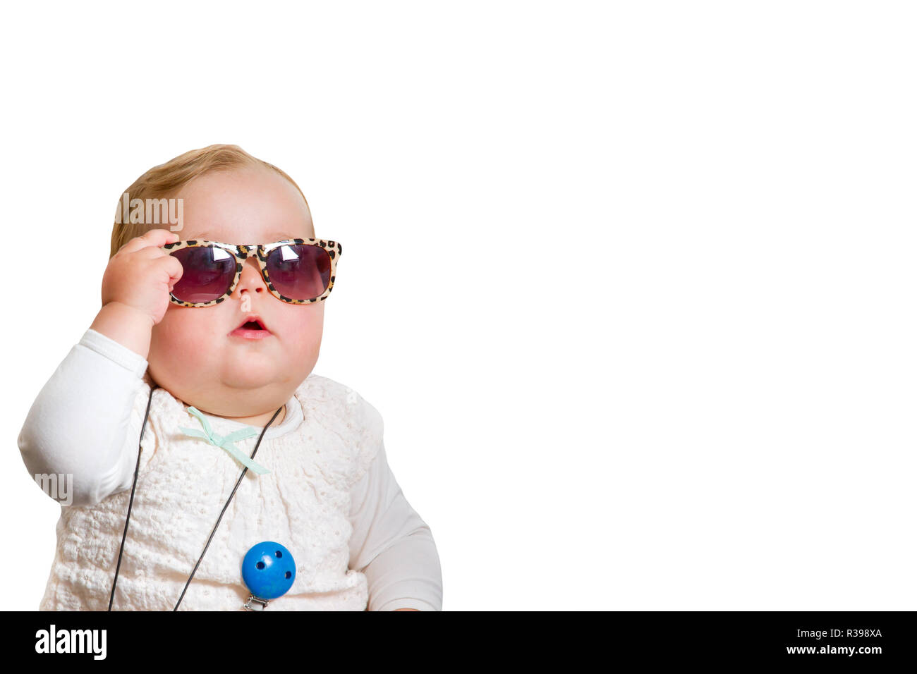 baby with sunglasses,released on a white background Stock Photo