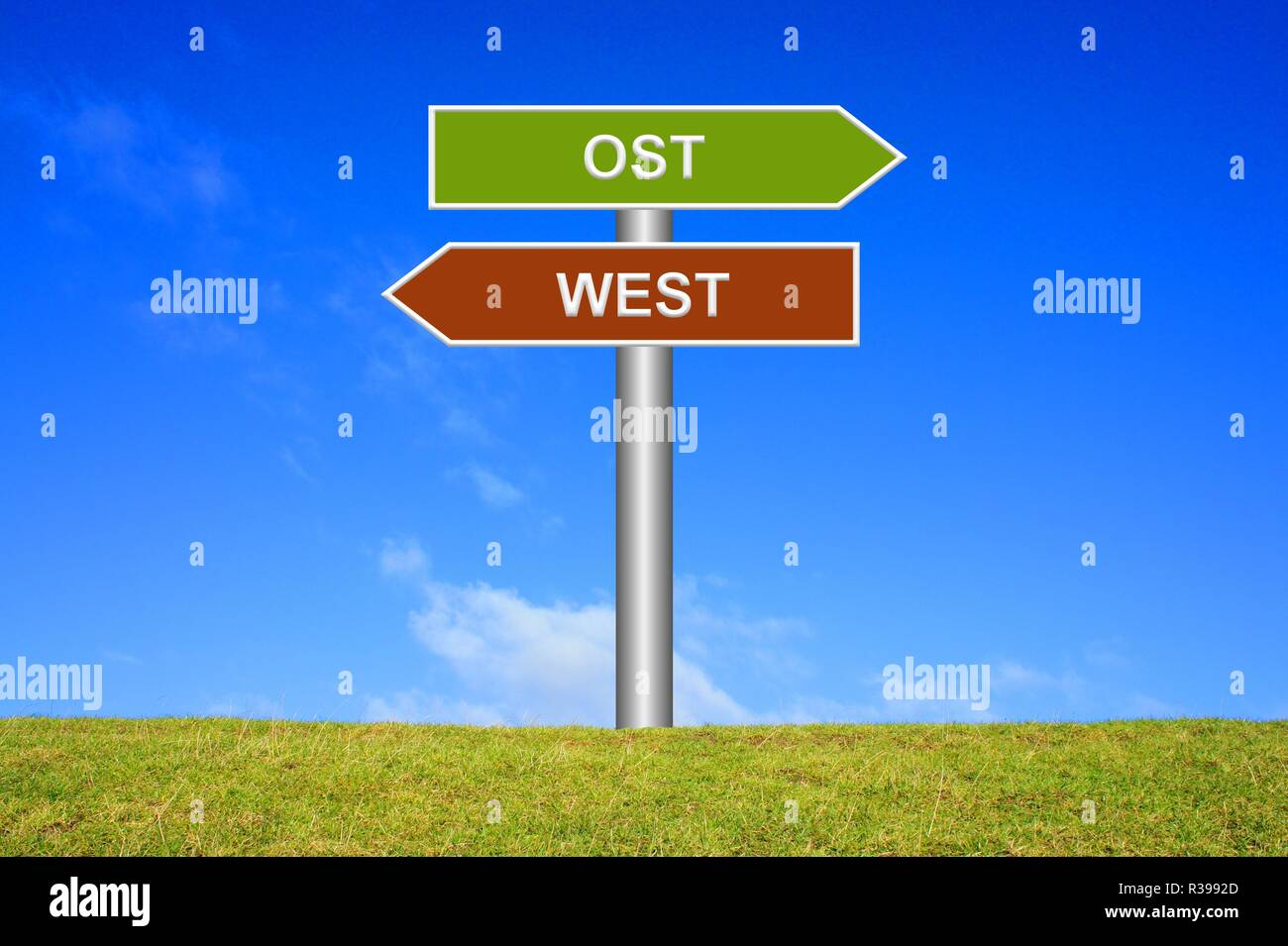 shield directions: east / west - Stock Image