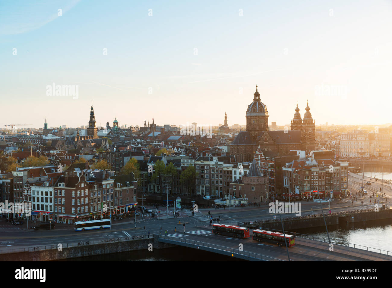 Amsterdam skyline in historical area at night, Amsterdam, Netherlands. Aerial view of Amsterdam, Netherlands. - Stock Image