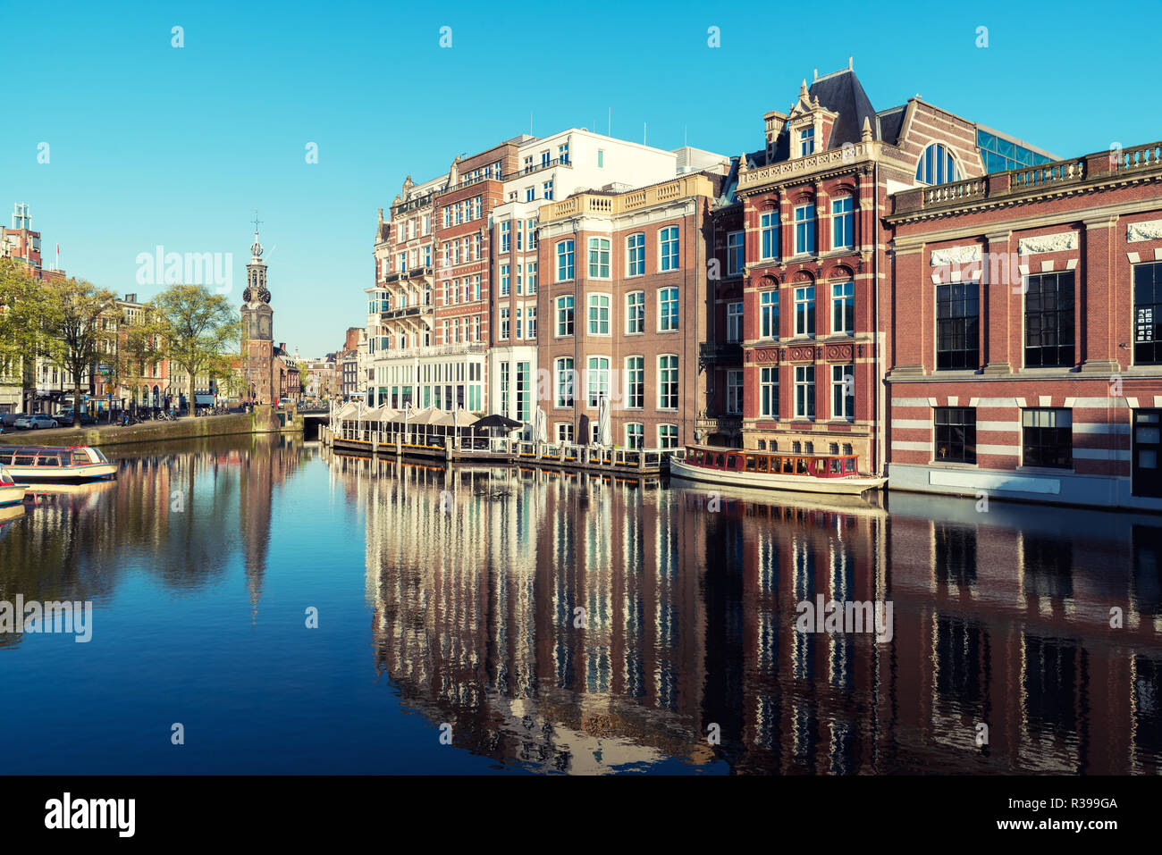 Netherlands traditional houses and Amsterdam canal in Amsterdam ,Netherlands. - Stock Image