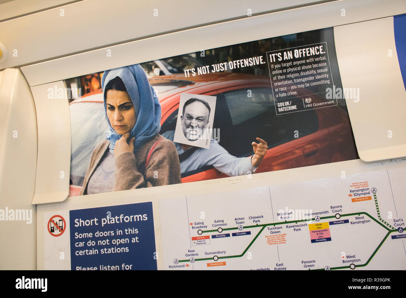 London UK. 22nd November 2018. A poster on the London Underground as part of a government Anti Hatecrime campaign against online and , physical abuse based on religion, transgender identity and race Credit: amer ghazzal/Alamy Live News - Stock Image