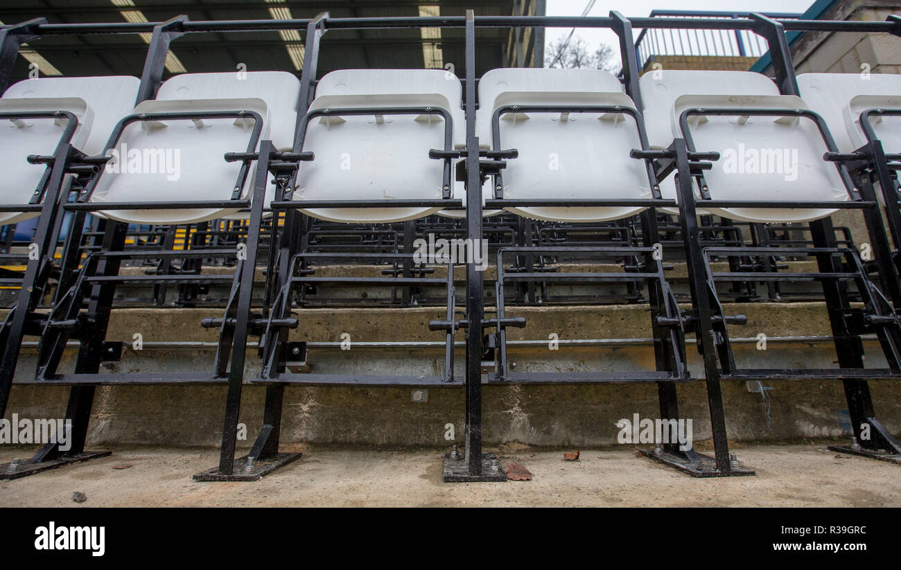 Adams Park, High Wycombe, UK. 22nd Nov 2018. Safe seating at Football Stadiums (Wycombe Wanderers are the first club in the country to install the new 2020 seat, produced by Grand Stand seating Systems Ltd in conjunction with Alderdale seating, which enables supporters to choose to stand or sit without having an obscured view of the pitch) at Adams Park, High Wycombe, England on 22 November 2018. Photo by Andy Rowland. Credit: Andrew Rowland/Alamy Live News Stock Photo