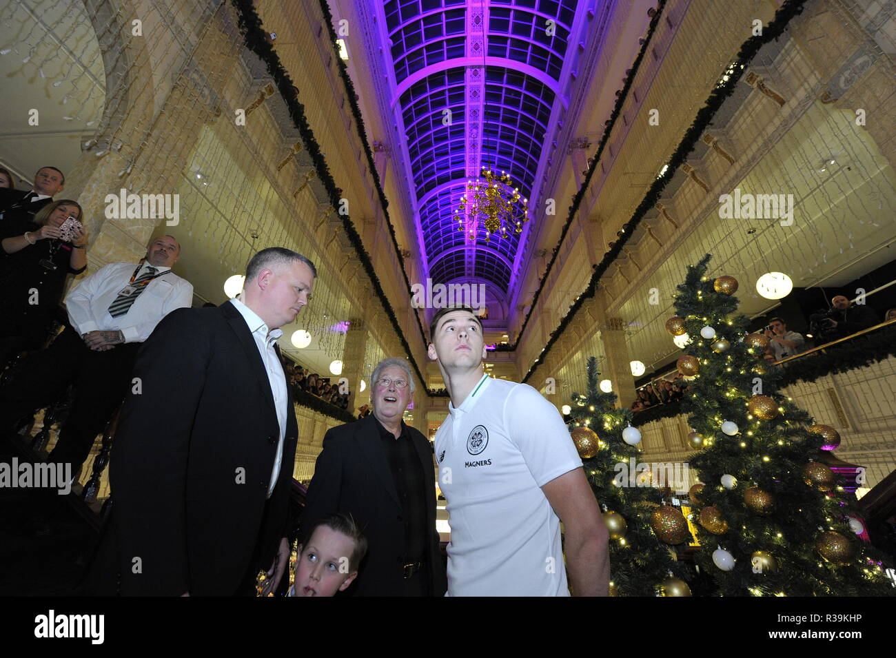 Glasgow, Scotland, UK. 22nd November 2018. Celtic's ace, Kieran Tierney switches on the Iconic Frasers Christmas lights at Mike Ashley's new House Of Fraser in Glasgow.  The event is to raise funds for St Margaret of Scotland Hospice in Clydebank. Credit: Colin Fisher/Alamy Live News - Stock Image