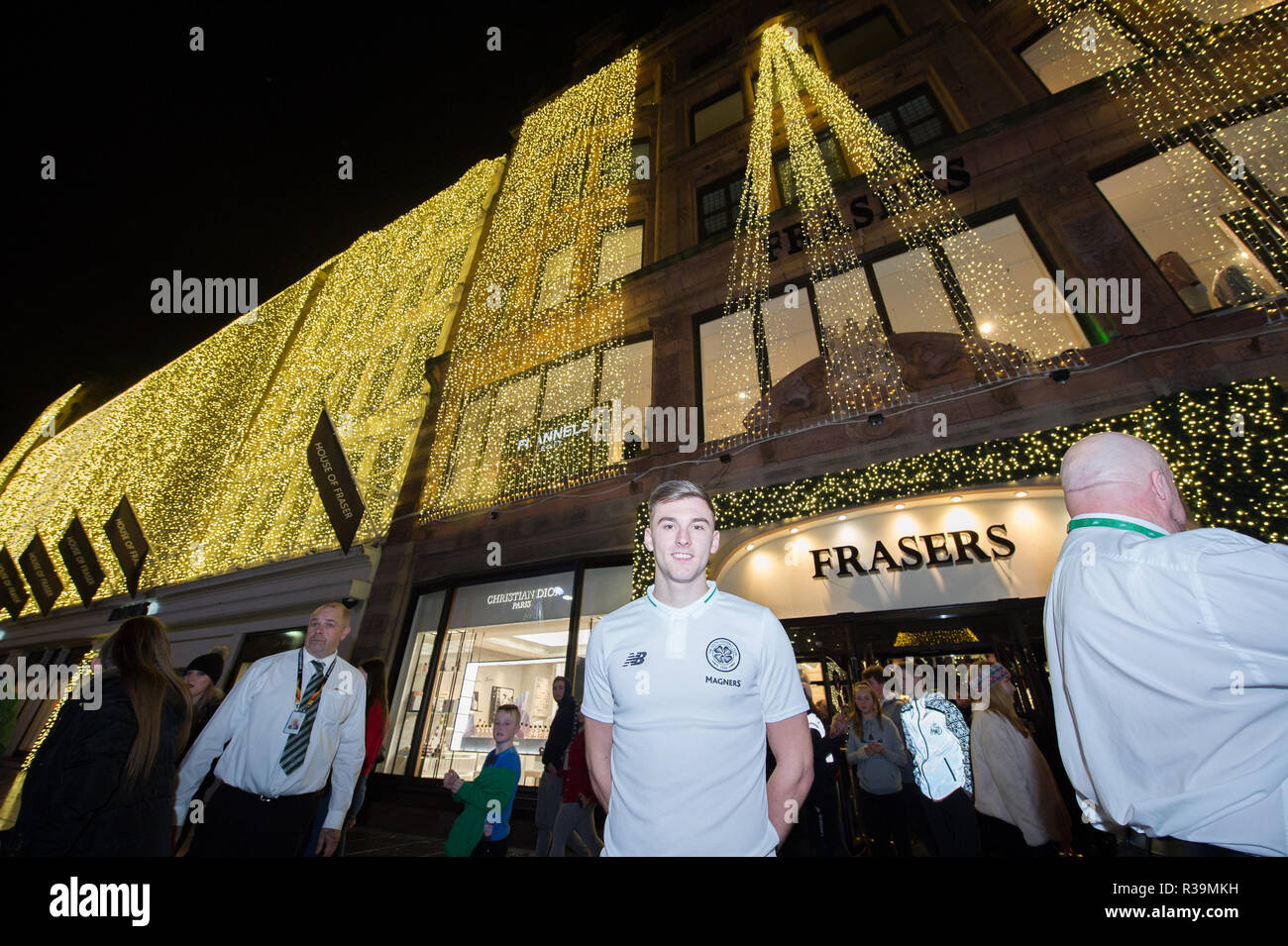 Glasgow, Scotland, UK. 22nd November 2018. Celtic's ace, Keiran Tierney switches on the Iconic Frasers Christmas lights at Mike Ashley's new House Of Fraser in Glasgow.  The event is to raise funds for St Margaret of Scotland Hospice in Clydebank. Credit: Colin Fisher/Alamy Live News - Stock Image
