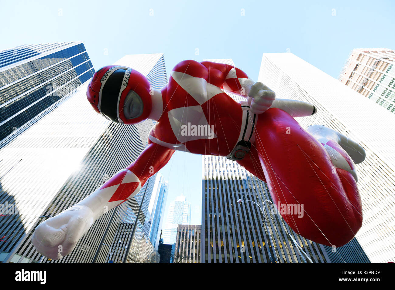 New York, USA. 22nd Nov, 2018. The balloon of Red Mighty Morphin Power Ranger is seen during the 2018 Macy's Thanksgiving Day Parade in New York, the United States, on Nov. 22, 2018. Despite frigid cold and strong winds, millions of people from New York and around the world lined the streets of Manhattan to watch the dazzling display of balloons and floats at the 92nd annual Macy's Thanksgiving Day Parade on Thursday. Credit: Li Rui/Xinhua/Alamy Live News - Stock Image