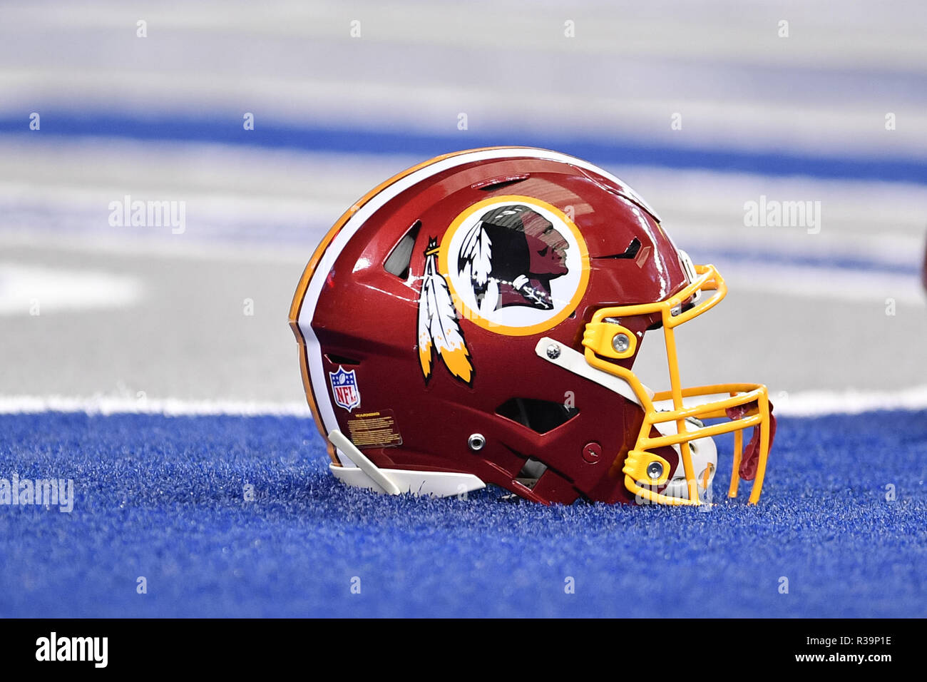 eaeb1c828 A Washington Redskins helmet prior to the NFL football game between the Washington  Redskins and the Dallas Cowboys at AT T Stadium in Arlington