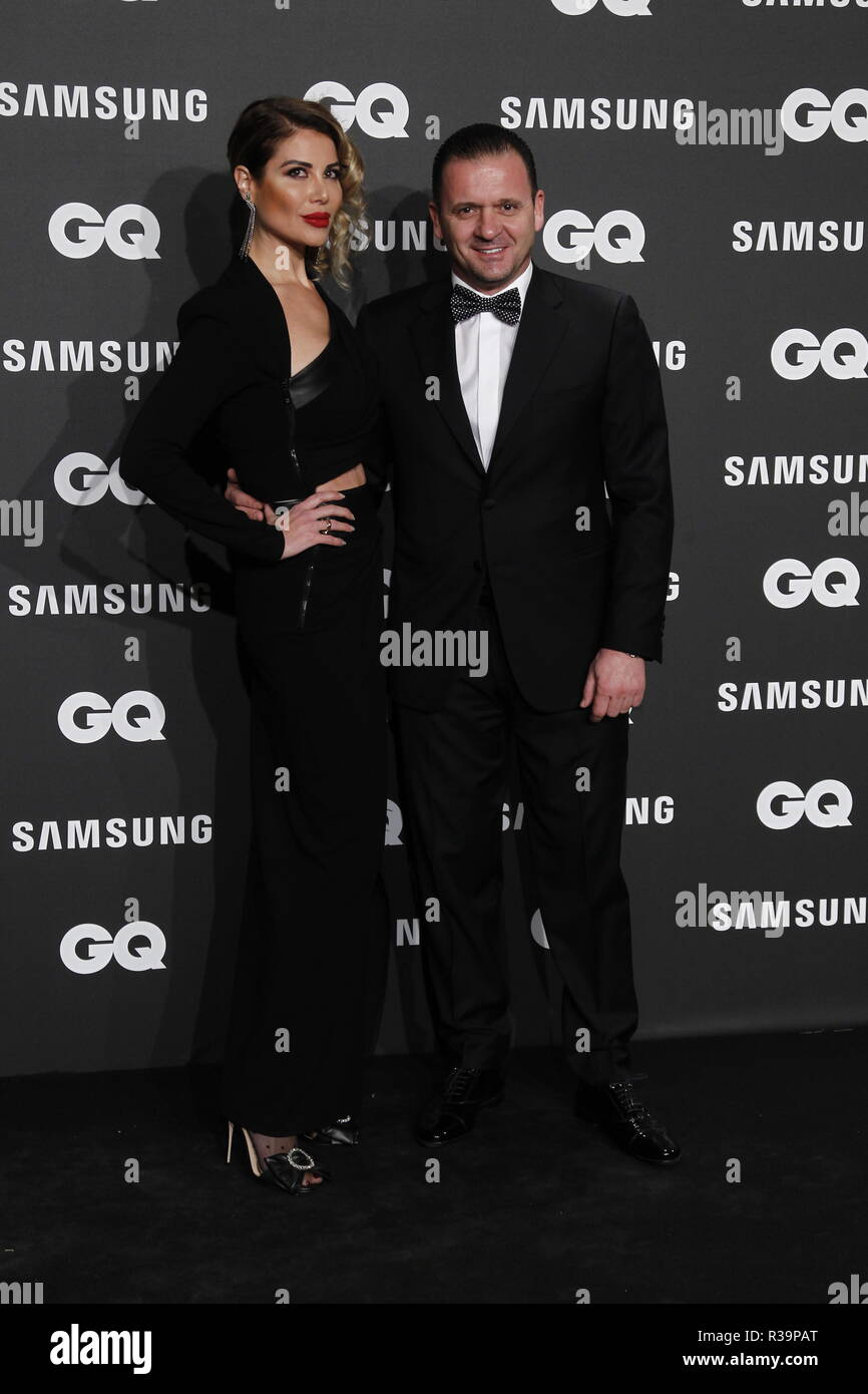 Photocall de los premios GQ Hombres del A–o 2018. (Photo: Jose Cuesta/261/Cordon Press). Pedja Mijatovic y su esposa   Photocall of GQ Men of Year Award 2018 in Madrid on Thursday , 22 november 2018 - Stock Image