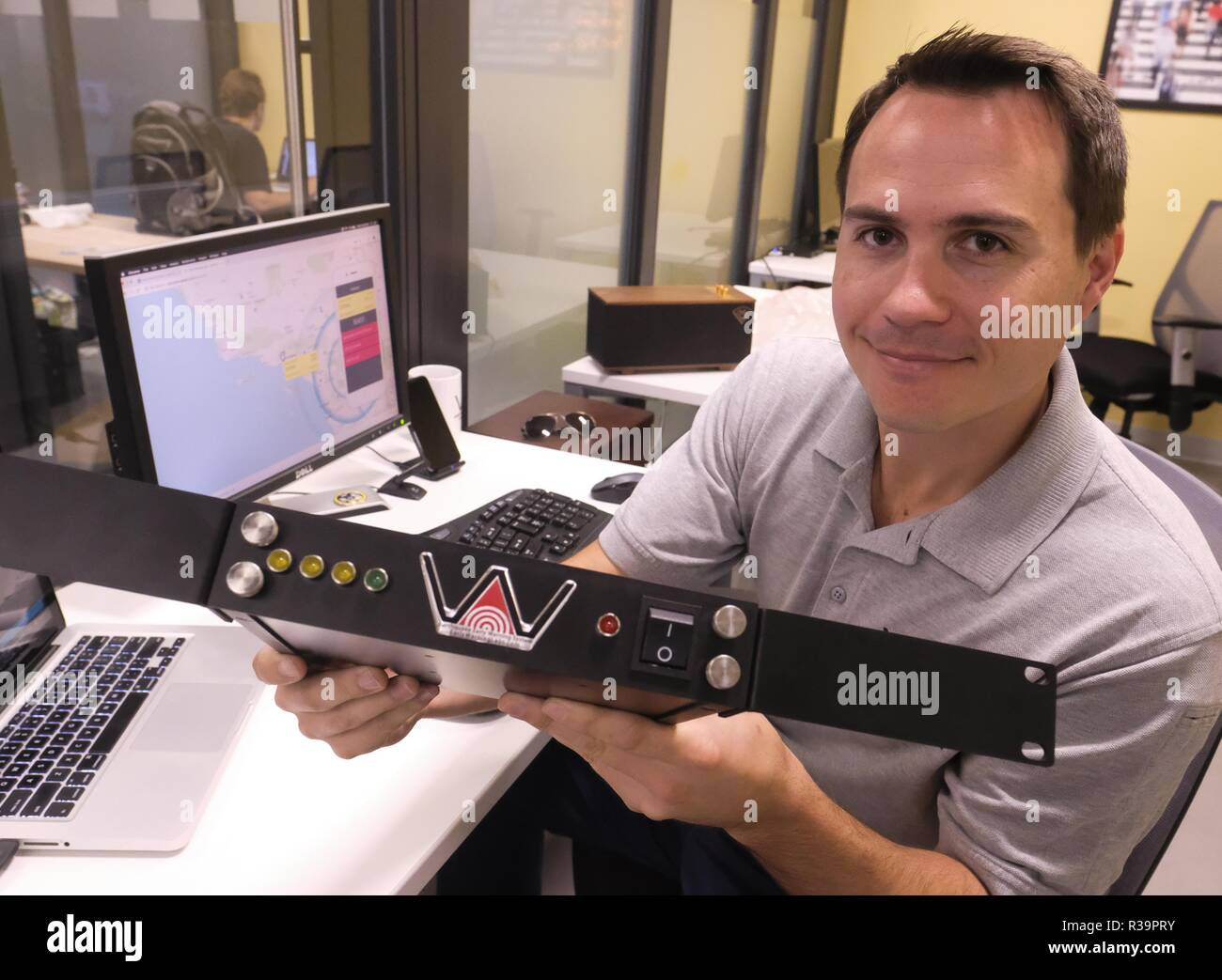 Los Angeles, California, USA. 31st Oct, 2018. Josh Bashioum, CEO of Early Warning Labs. Santa Monica-based Early Warning Labs has developed an earthquake early warning system and deployed it in 3 LAUSD schools, with aims to add it to all 1,200 in the district. Credit: Ringo Chiu/ZUMA Wire/Alamy Live News - Stock Image