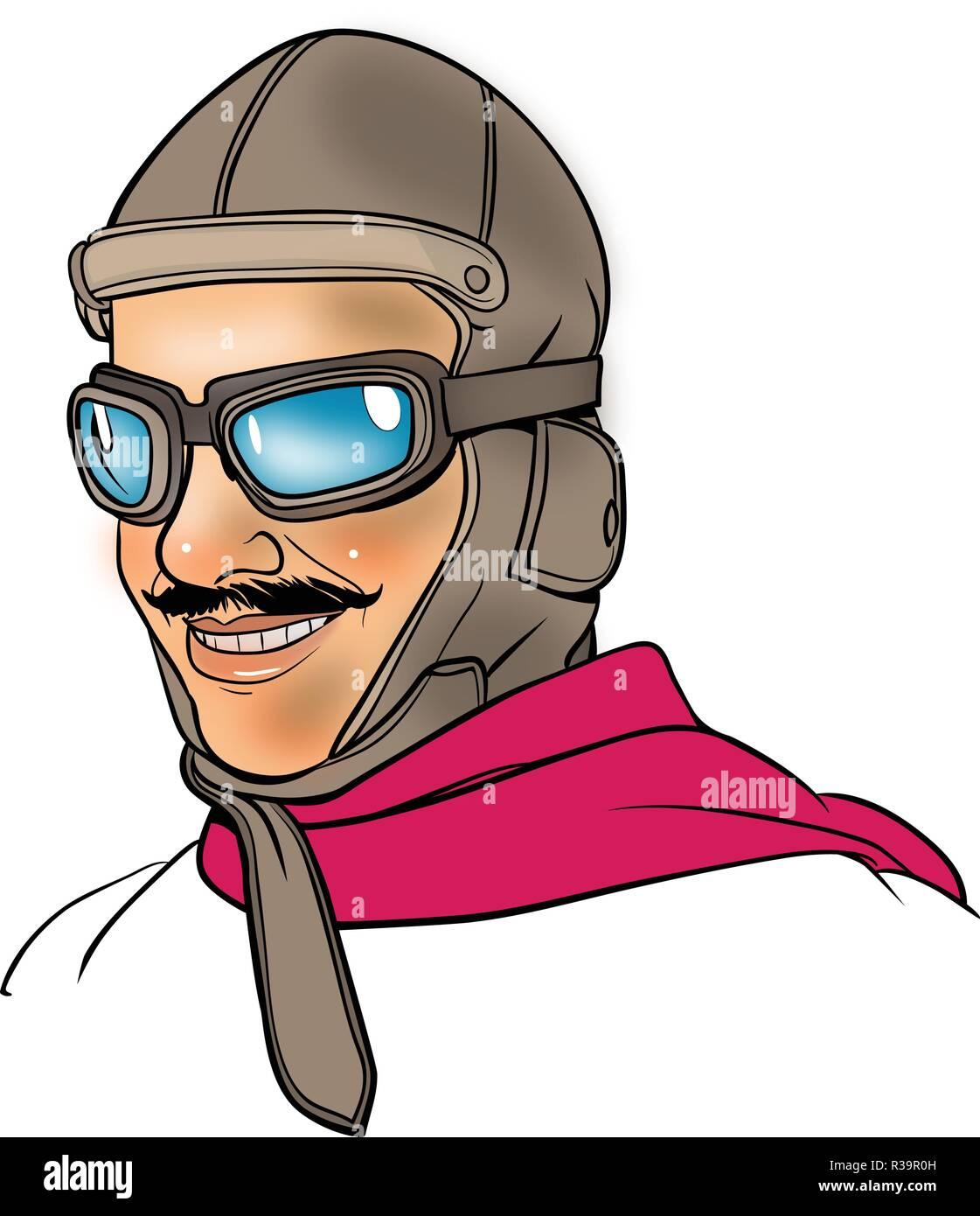 1930's pilot portrait in line art illustration. - Stock Vector