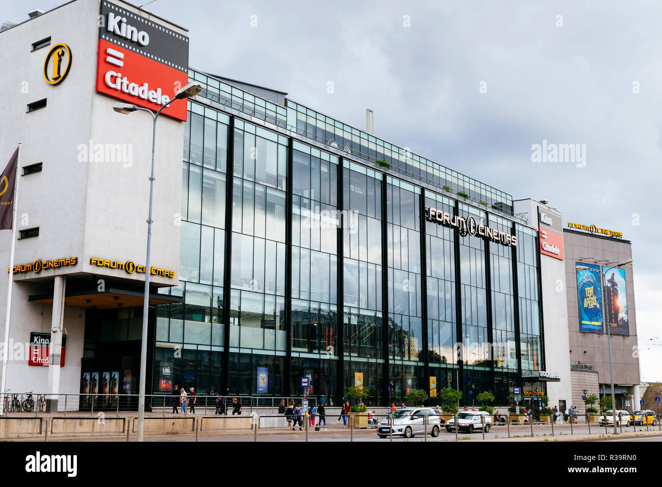Modern mall with multiplex cinema next to the central station, Riga, Latvia, Baltic states, Europe. - Stock Image