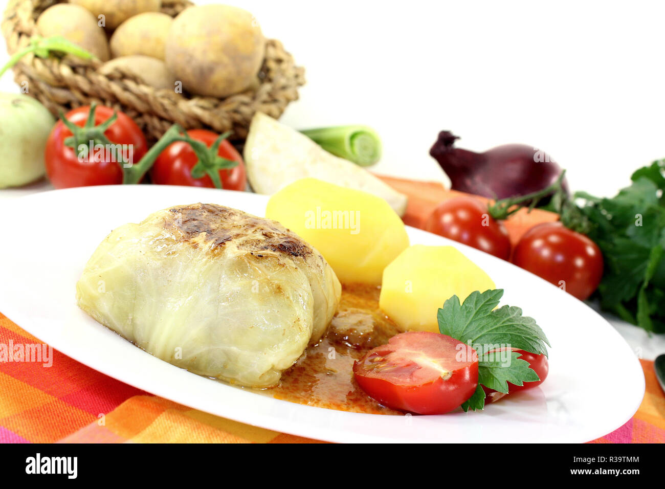 cabbage roulade with potatoes Stock Photo