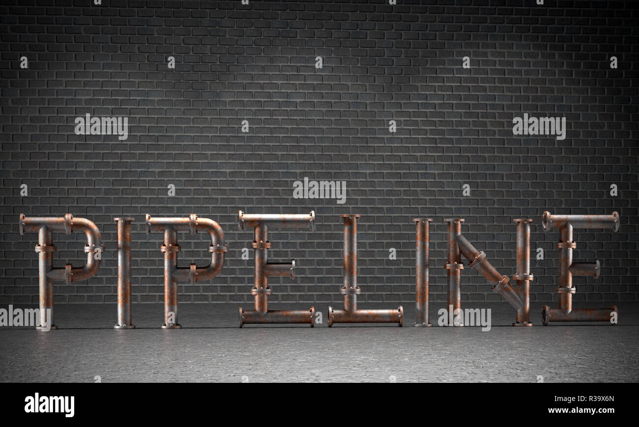 3D render of Pipeline word made of bolted rusty metal piping elements against gray brickwall - Stock Image