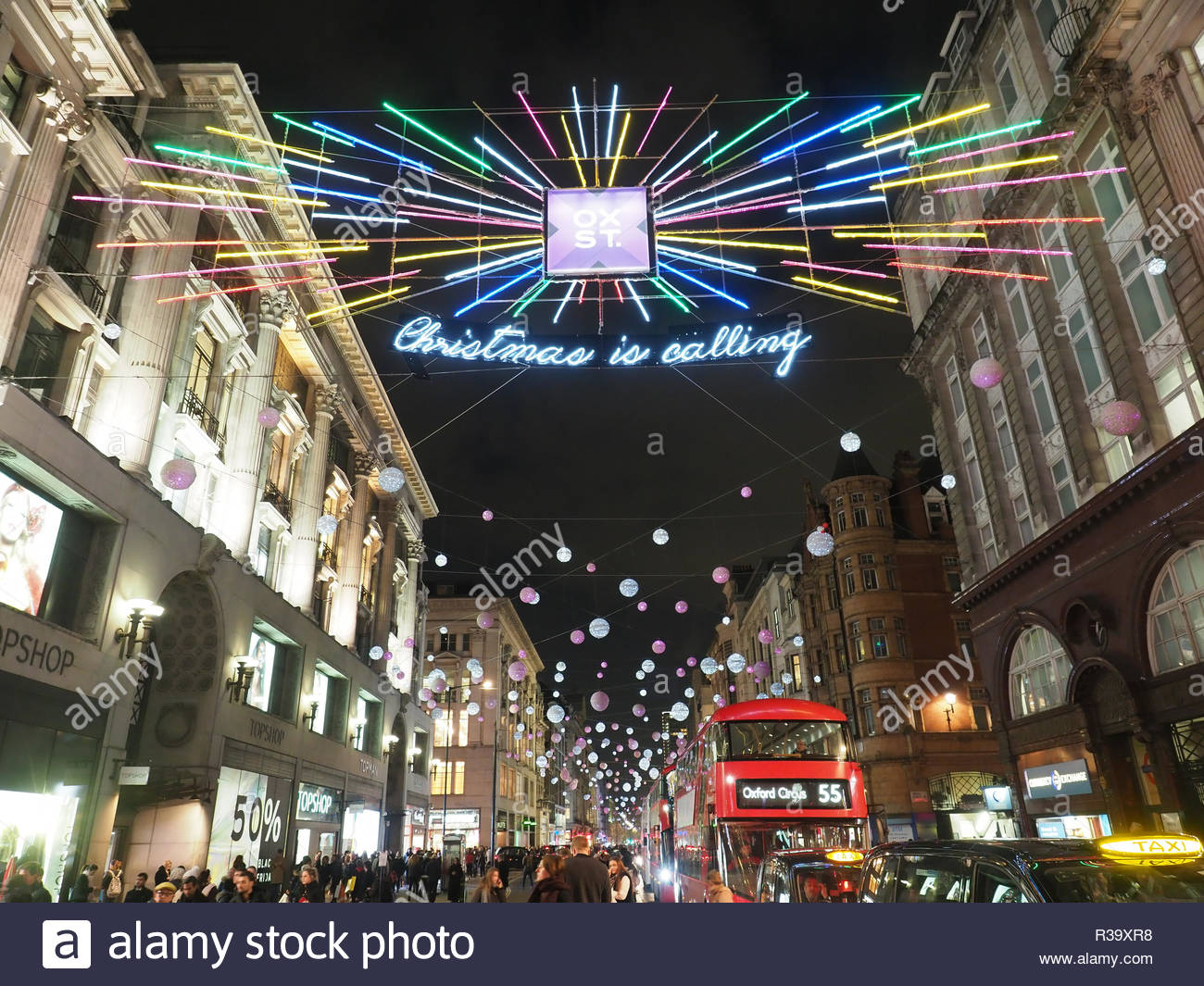 Oxford Street Weihnachtsbeleuchtung.Oxford Street London Night Stock Photos Oxford Street London Night