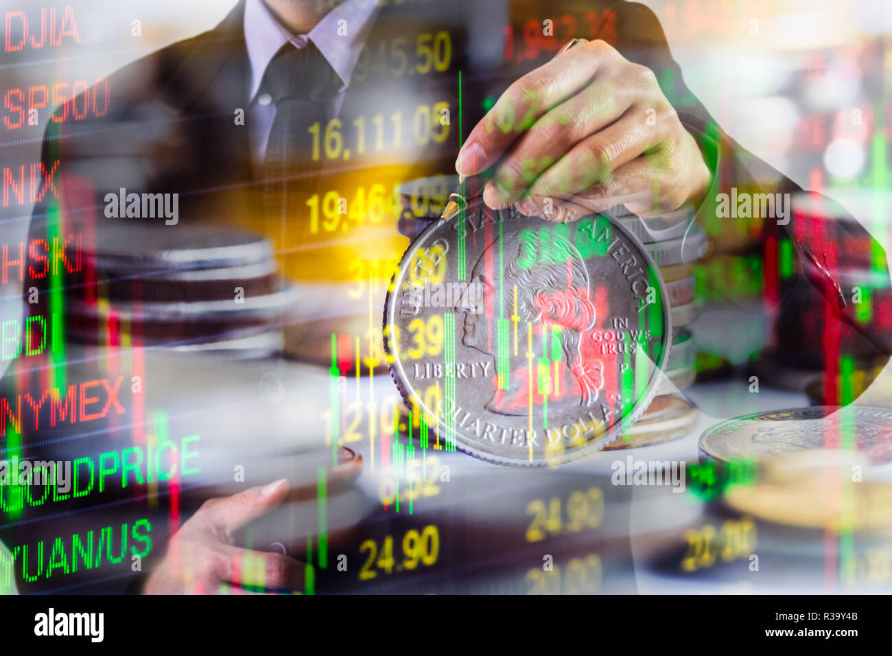 Double exposure businessman and stock market or forex graph suitable for financial investment concept. Economy trends background for business idea and - Stock Image