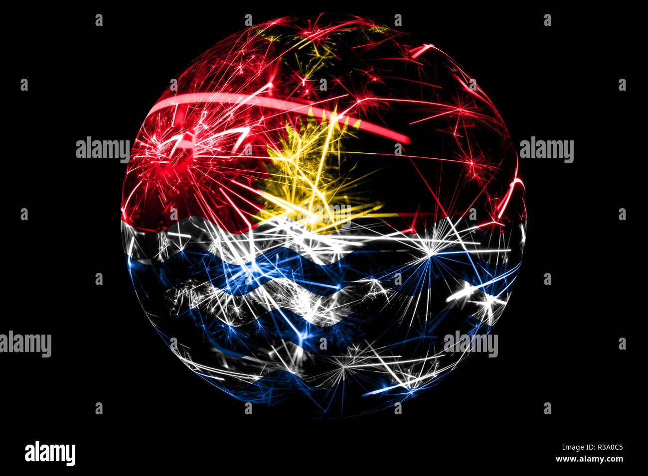 Abstract Kiribati sparkling flag, Christmas ball holiday concept isolated on black background - Stock Image