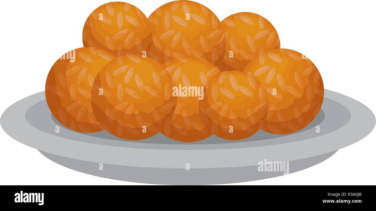 dish with Halwas of sugar - Stock Vector