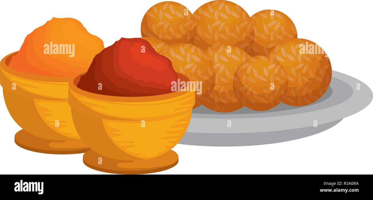 dish with Halwas of sugar and sesame seeds - Stock Vector