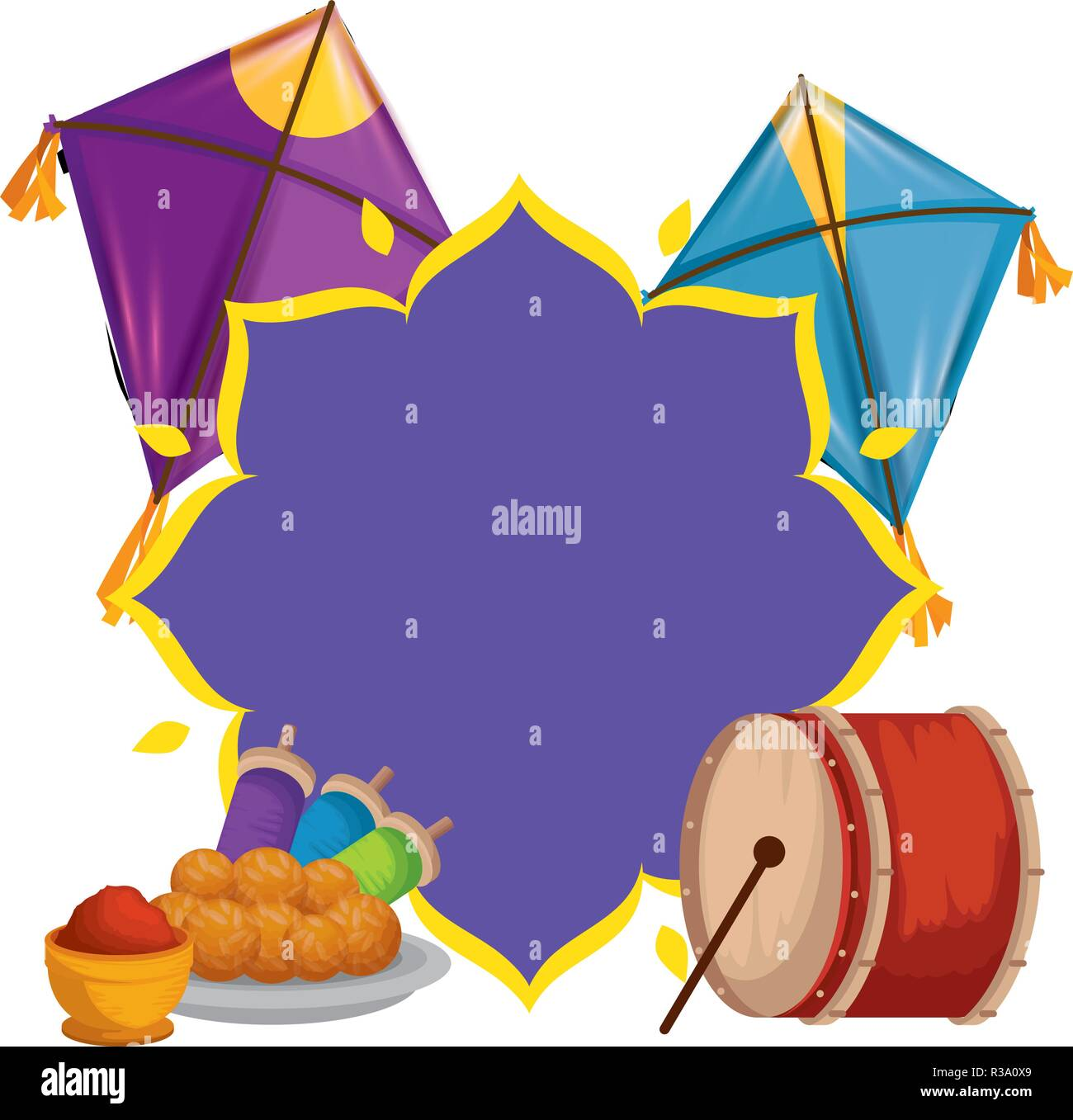happy lohri celebration icons - Stock Vector