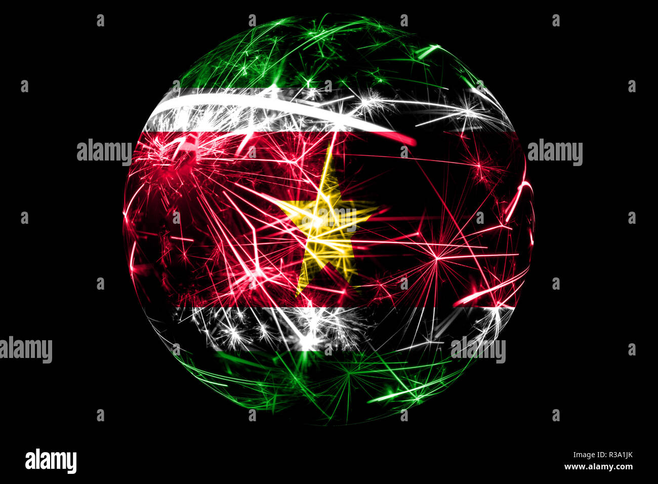 Abstract Suriname sparkling flag, Christmas ball holiday concept isolated on black background - Stock Image