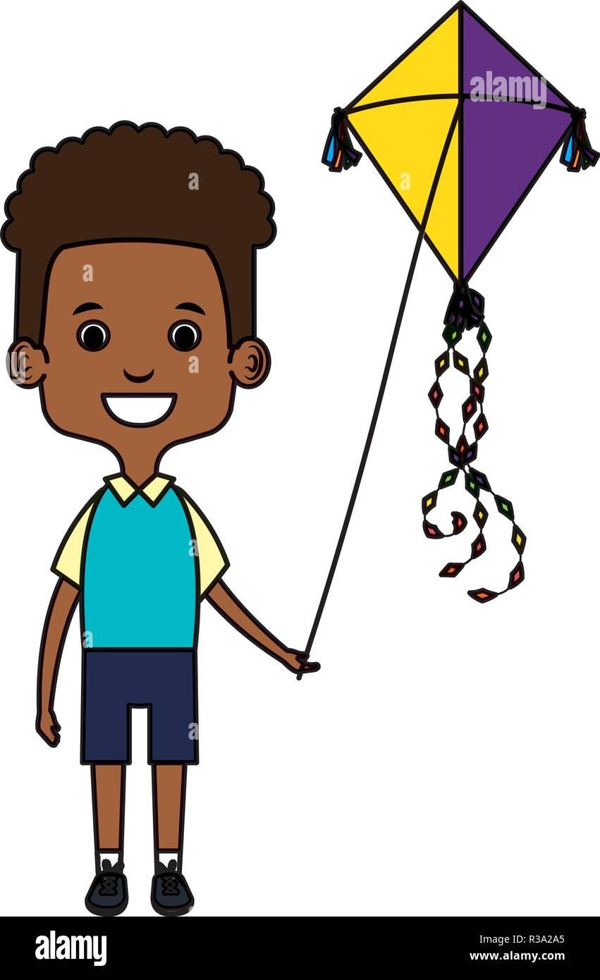little black boy flying kite - Stock Image