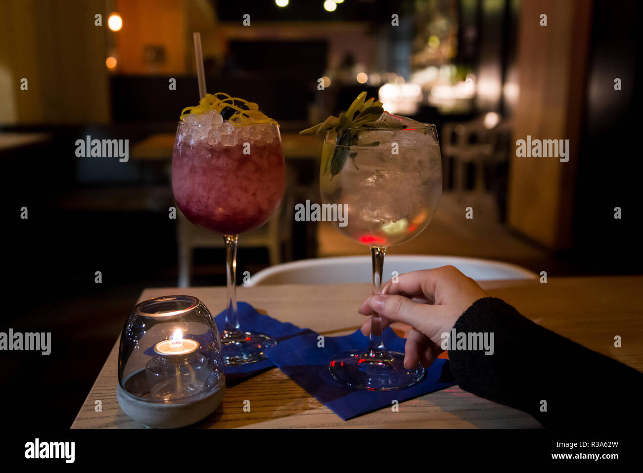 Two craft cocktail drink in a upscale cocktail lounge Stock Photo