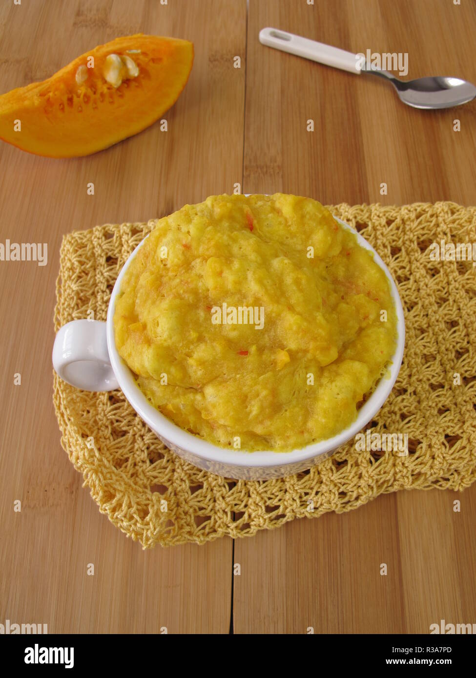Pumpkin Mug Cake In The Cup From The Microwave Stock Photo Alamy