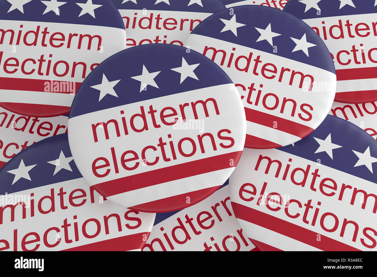USA Politics News Badges: Pile of Midterm Elections Buttons With US Flag, 3d illustration - Stock Image