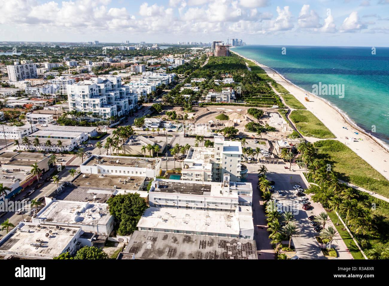 Miami Beach Florida North Beach condominium balcony view aerial Atlantic Ocean - Stock Image