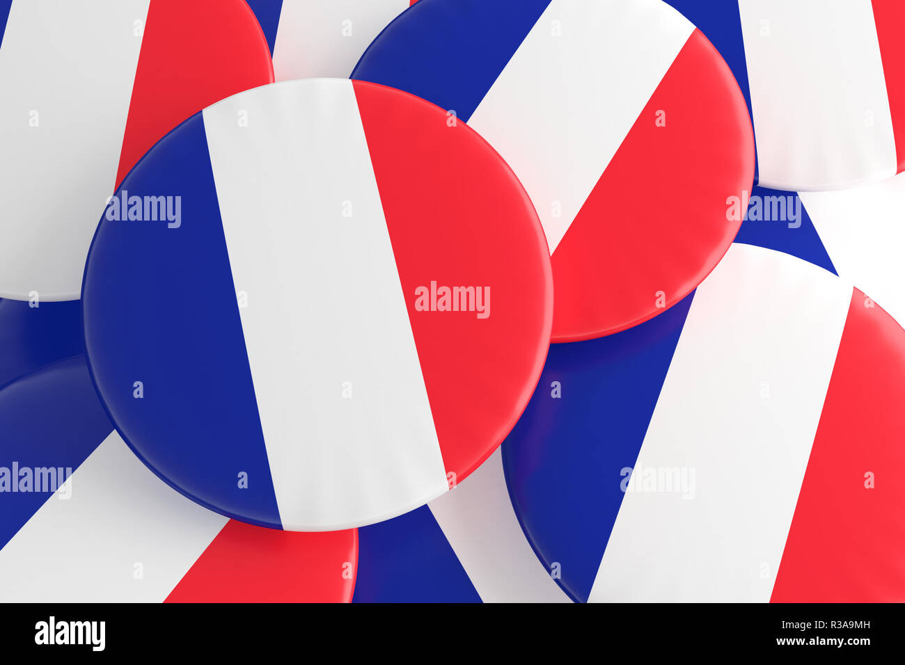 French Tricolor: Pile of France Flag Badges, 3d illustration - Stock Image