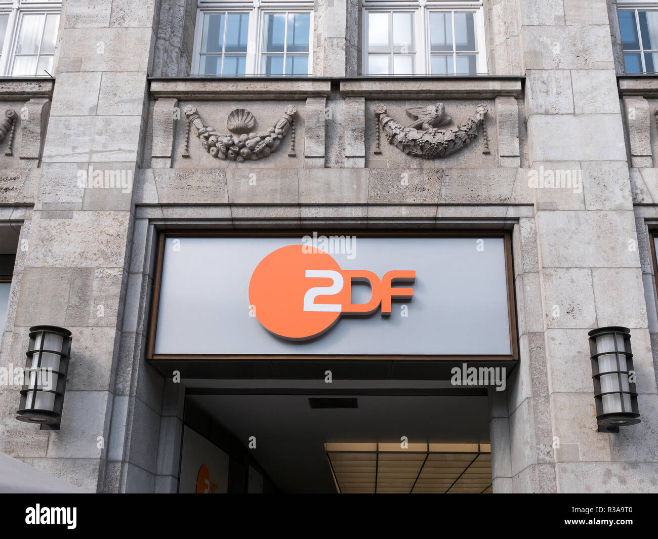 BERLIN, GERMANY - APRIL 3, 2018: ZDF Symbol At The Capital Studio In Berlin, Zweites Deutsches Fernsehen, German For Second German Television , Usually Shortened To ZDF - Stock Image